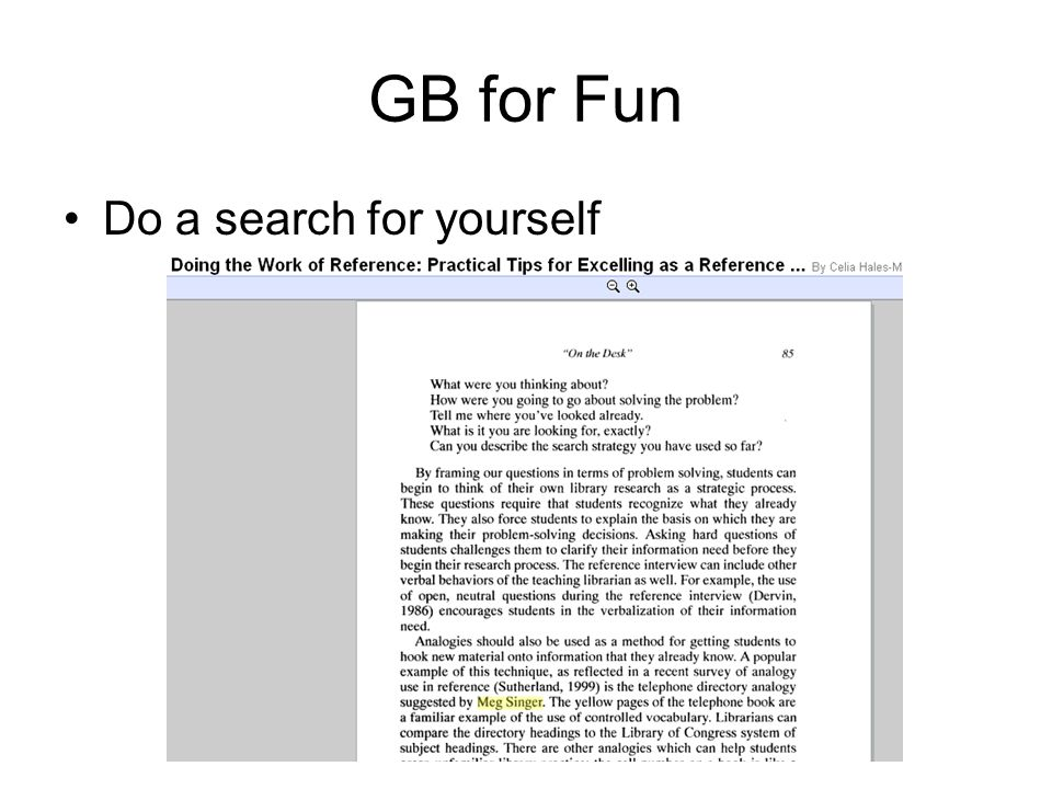 GB for Fun Do a search for yourself