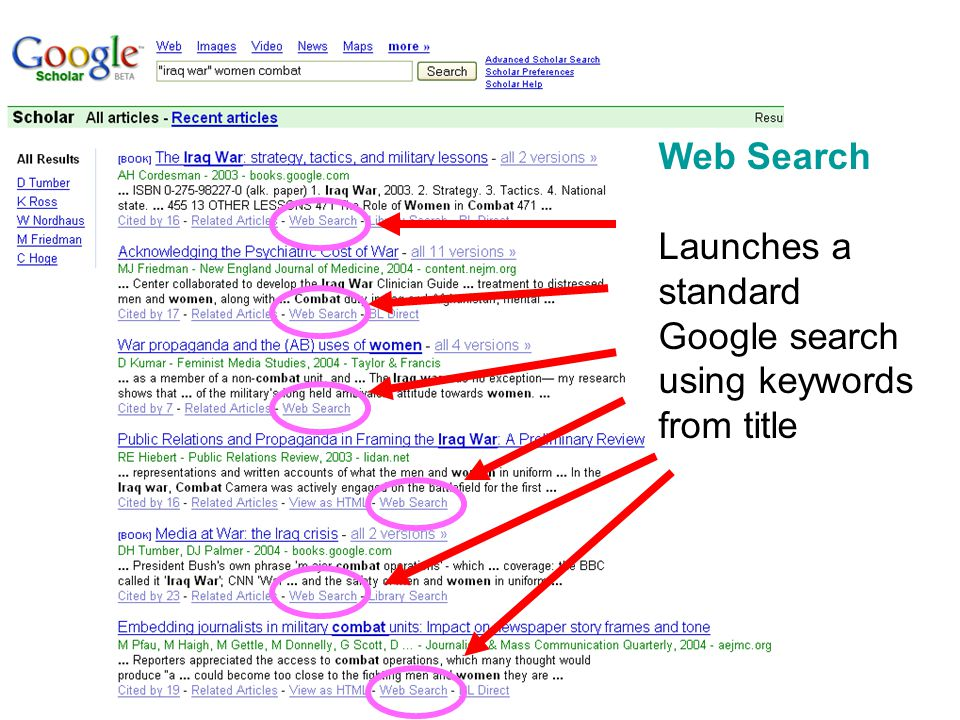 Web Search Launches a standard Google search using keywords from title