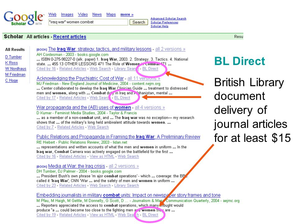BL Direct British Library document delivery of journal articles for at least $15