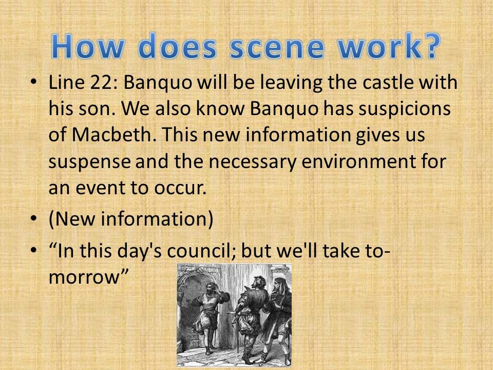 Line 22: Banquo will be leaving the castle with his son.