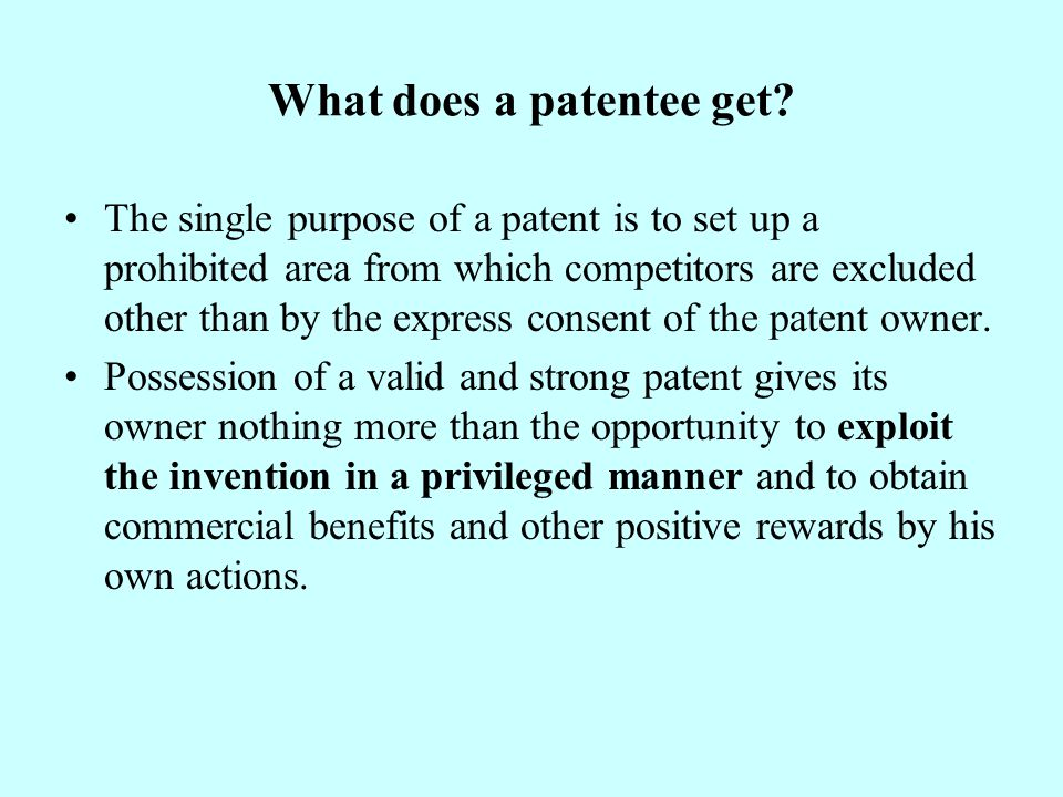 What does a patentee get.