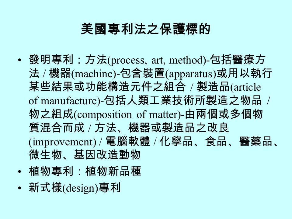 美國專利法之保護標的 發明專利:方法 (process, art, method)- 包括醫療方 法 / 機器 (machine)- 包含裝置 (apparatus) 或用以執行 某些結果或功能構造元件之組合 / 製造品 (article of manufacture)- 包括人類工業技術所製造之物品 / 物之組成 (composition of matter)- 由兩個或多個物 質混合而成 / 方法、機器或製造品之改良 (improvement) / 電腦軟體 / 化學品、食品、醫藥品、 微生物、基因改造動物 植物專利:植物新品種 新式樣 (design) 專利