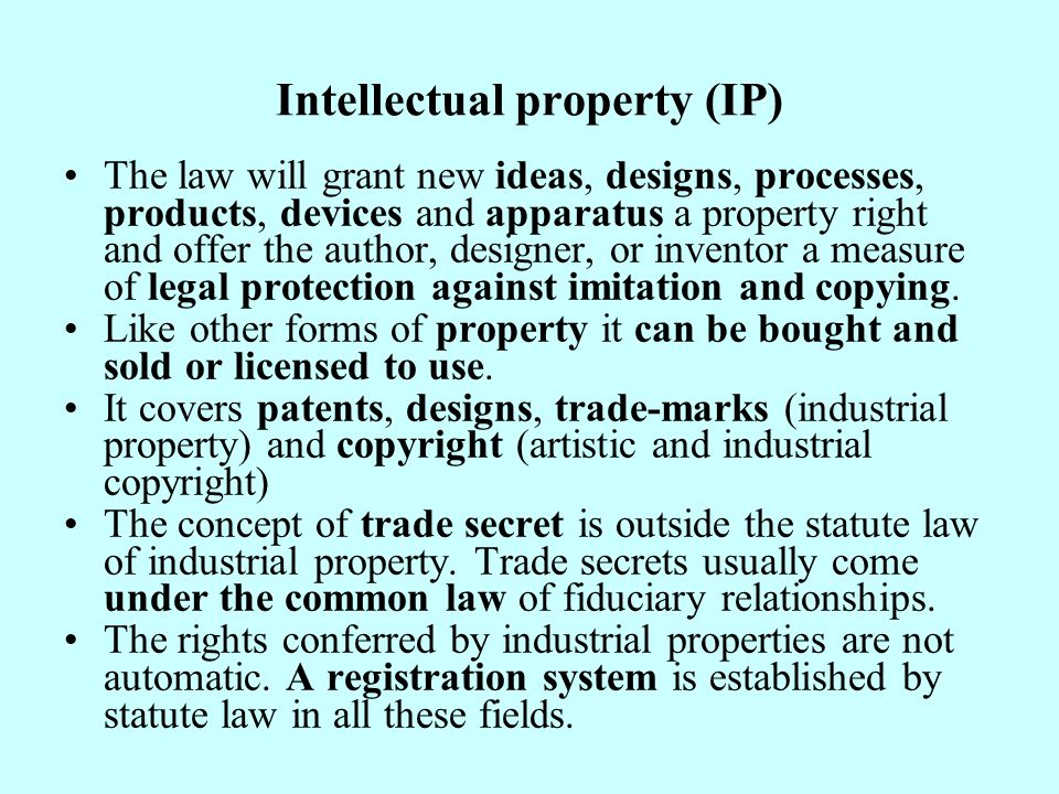 Brief description of patents Patents are rights granted in respect of inventions capable of industrial application.