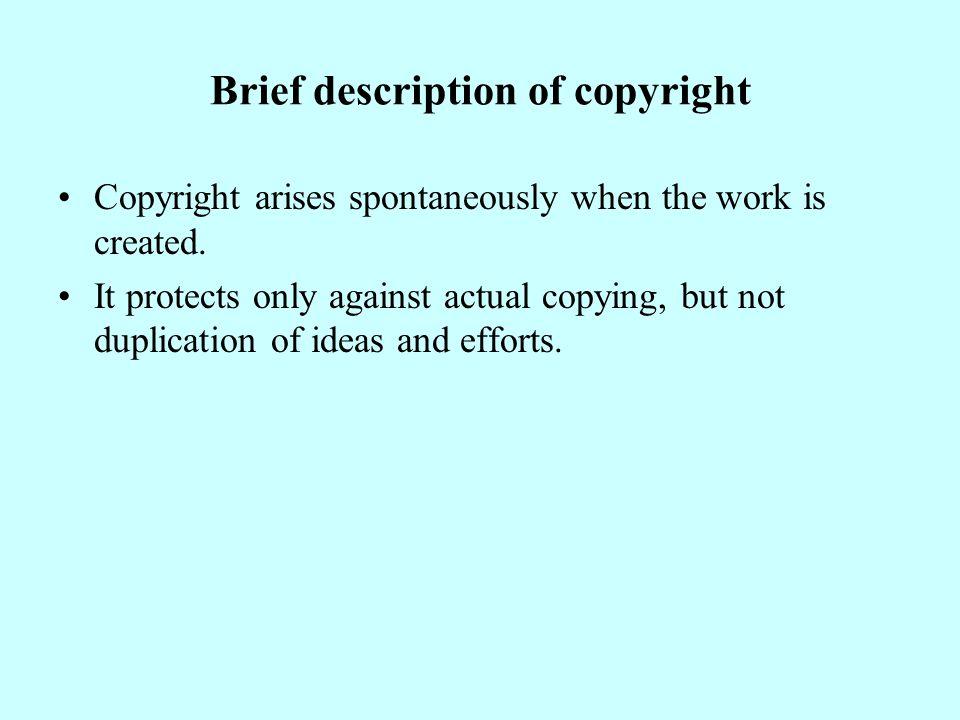 工業財產權的特性 專有性或排他性:權利人享有對這些無形財產享 有佔有、使用、收益和支配的權利。其他人未經 權利人許可,不得利用此權利 ( 不得製造、使用、 販賣 ) 。由於這種權利是專有的,同樣的發明只能 授予一次專利權。 地域性:權利人享有的權利,只有在核准該權利 所屬的領土有效。美國的專利在中國領土上無效。 英國專利須在香港註冊總署註冊登記後在香港才 有效。( 1997 年香港回歸中國) 時間性:除商標可依法延展外,專利權都有一定 的期限 ( 一般 16 到 20 年 ) 。法律規定的期限屆滿以 後,工業財產權即告終止,任何人均可使用其保 護的客體。