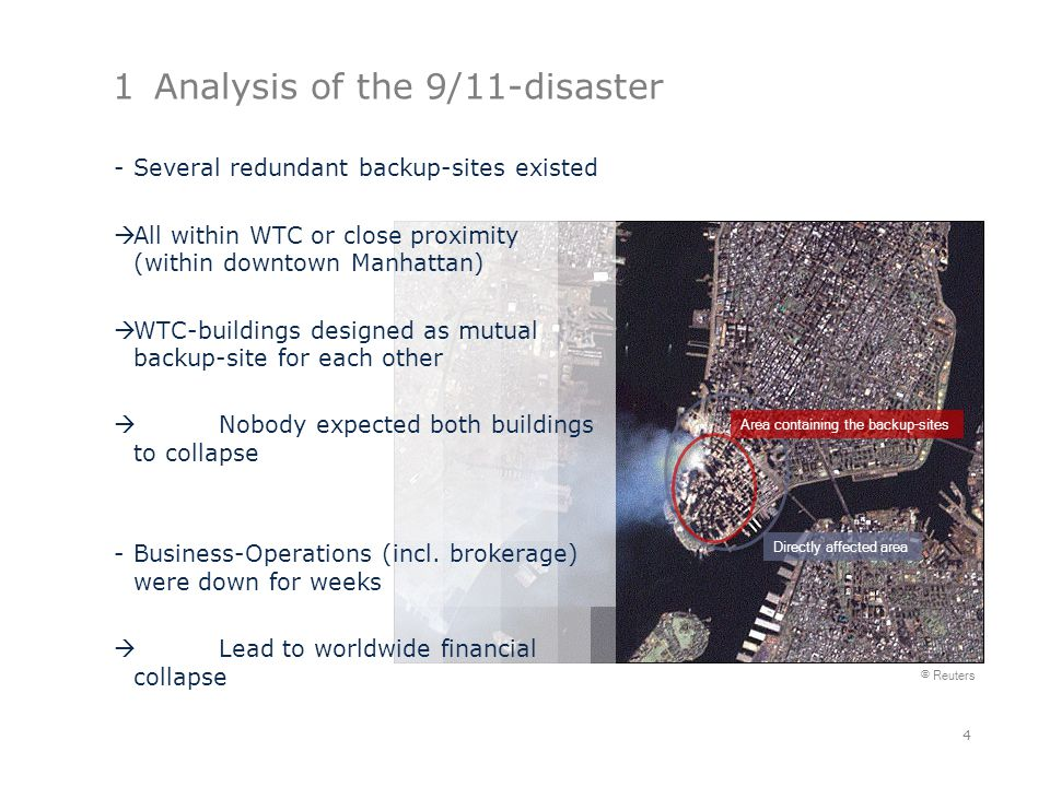 1Analysis of the 9/11-disaster 4 © Reuters Directly affected area Area containing the backup-sites -Several redundant backup-sites existed  All within WTC or close proximity (within downtown Manhattan)  WTC-buildings designed as mutual backup-site for each other  Nobody expected both buildings to collapse -Business-Operations (incl.