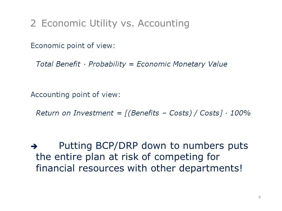 2Economic Utility vs. Accounting Economic point of view: Total Benefit ∙ Probability = Economic Monetary Value Accounting point of view: Return on Inv