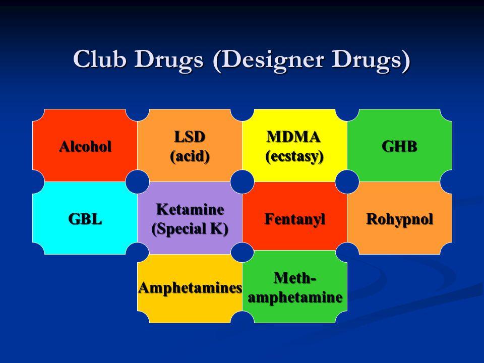 Club Drugs (Designer Drugs) Alcohol LSD (acid)MDMA(ecstasy) Amphetamines Ketamine (Special K) FentanylRohypnol GHB GBL Meth-amphetamine