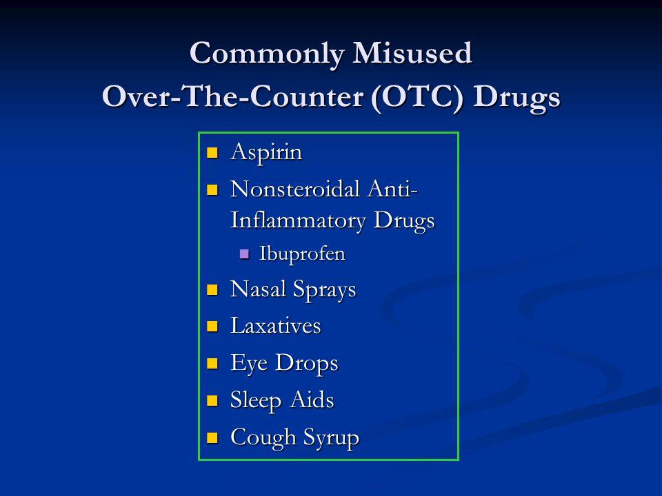 Commonly Misused Over-The-Counter (OTC) Drugs Aspirin Aspirin Nonsteroidal Anti- Inflammatory Drugs Nonsteroidal Anti- Inflammatory Drugs Ibuprofen Ib