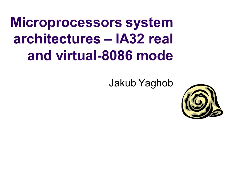 Microprocessors system architectures – IA32 real and virtual-8086 mode Jakub Yaghob