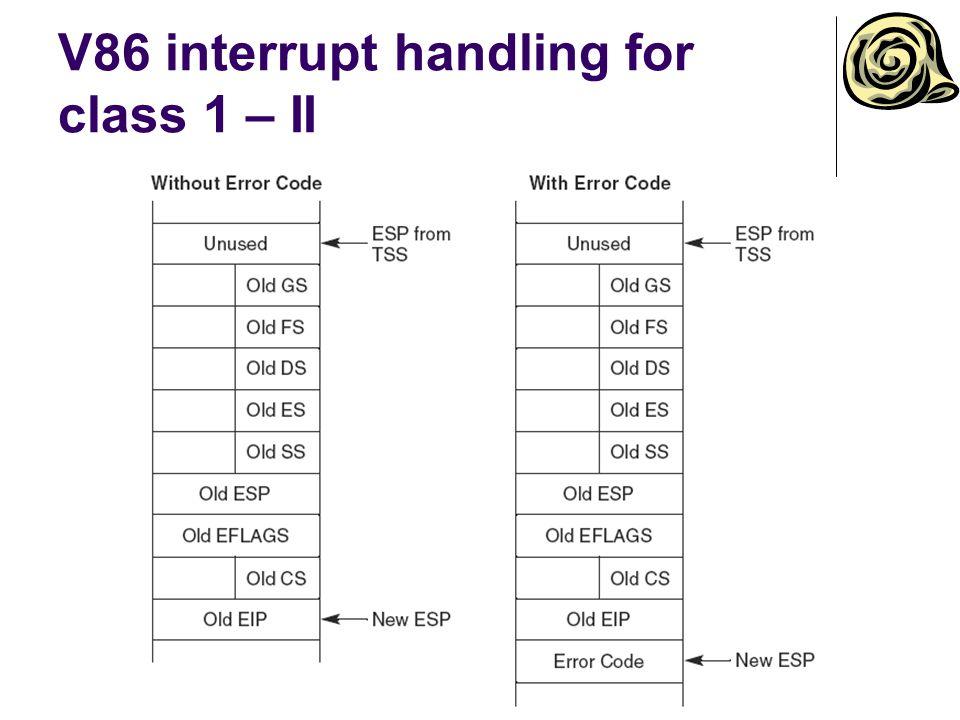 V86 interrupt handling for class 1 – II