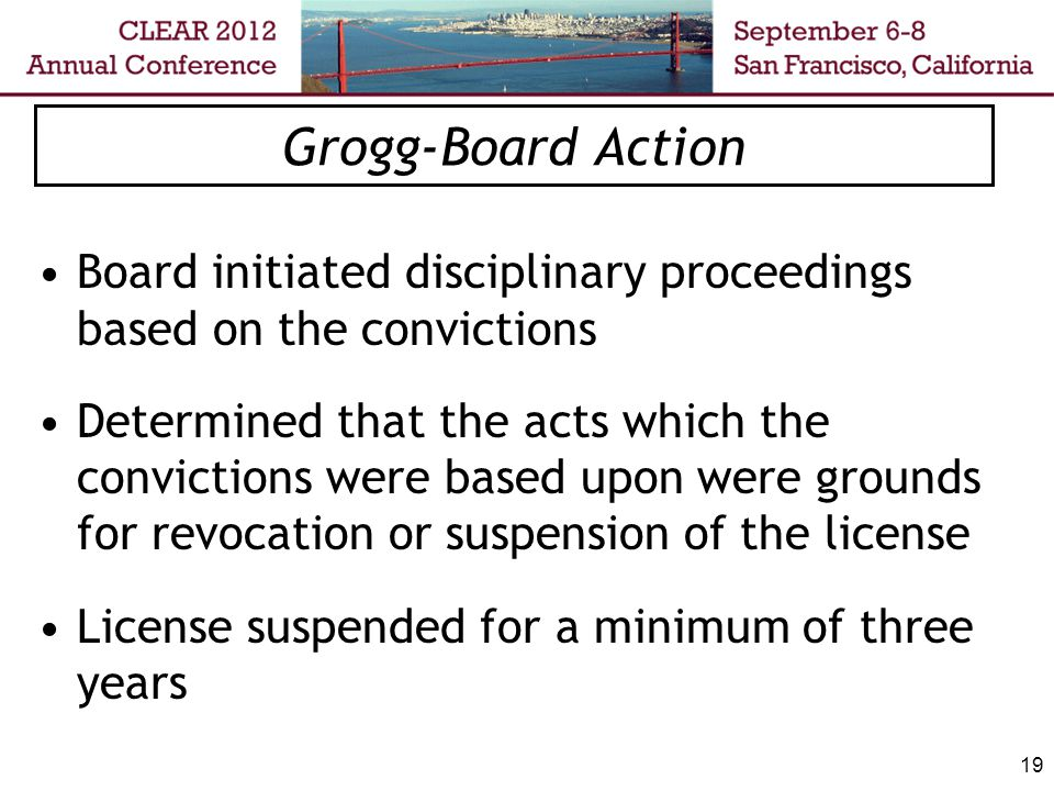 20 Grogg- Decision Nothing in the record regarding explaining the basis or rationale for the sanctions Indefinite suspension for misdemeanor convictions not previously imposed Sanctions were unduly harsh and against the manifest weight of the evidence