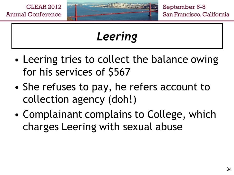 Leering Legislative regime: Zero tolerance for sexual abusing patients/clients Revocation: minimum of five years No spousal/partner exceptions 35