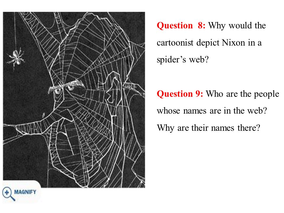 Question 8: Why would the cartoonist depict Nixon in a spider's web.