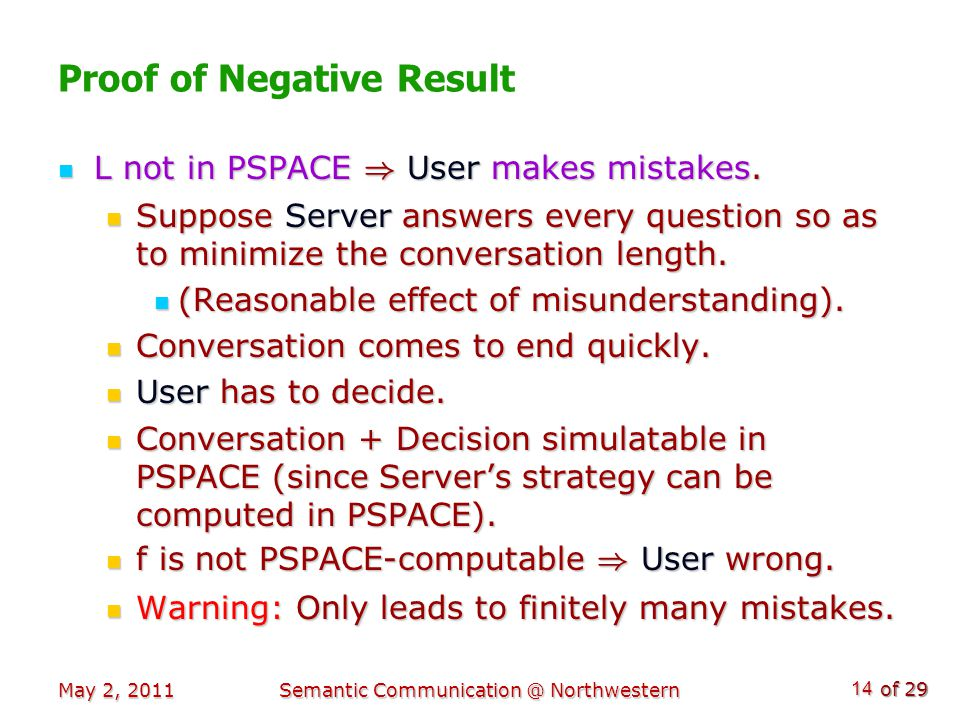 of 29 May 2, 2011Semantic Communication @ Northwestern 14 Proof of Negative Result L not in PSPACE ) User makes mistakes.