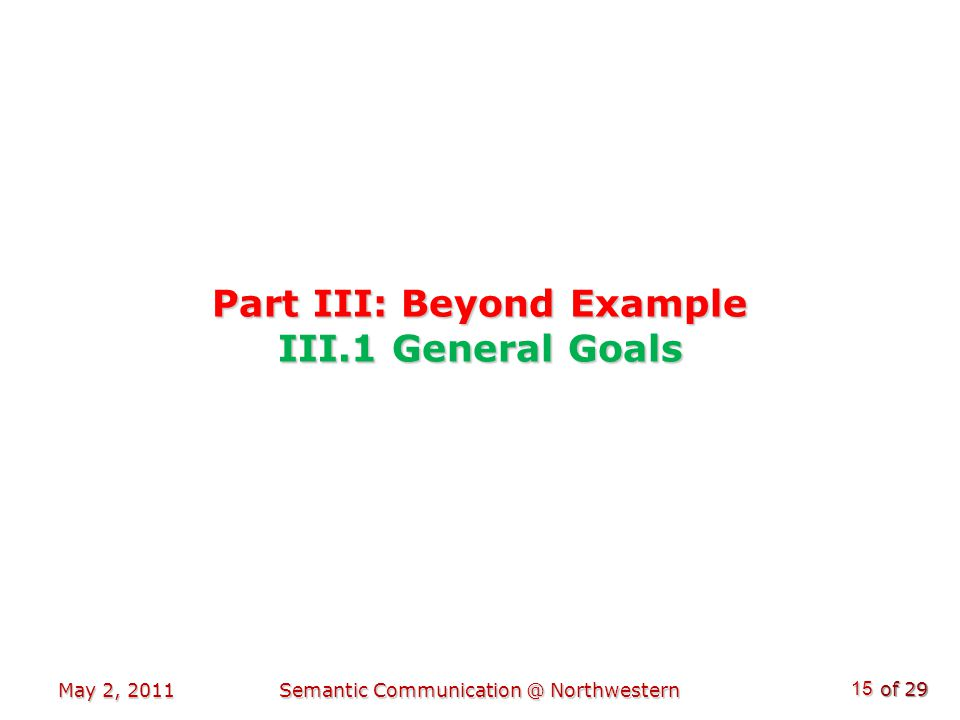 of 29 Part III: Beyond Example III.1 General Goals May 2, 2011Semantic Communication @ Northwestern 15