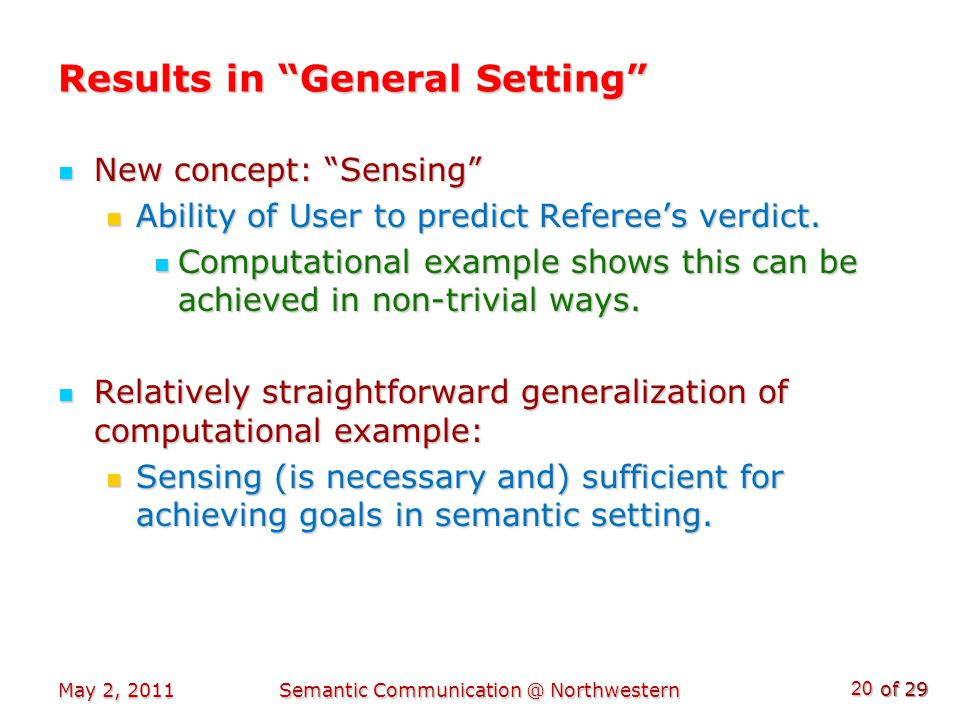 of 29 Results in General Setting New concept: Sensing New concept: Sensing Ability of User to predict Referee's verdict.