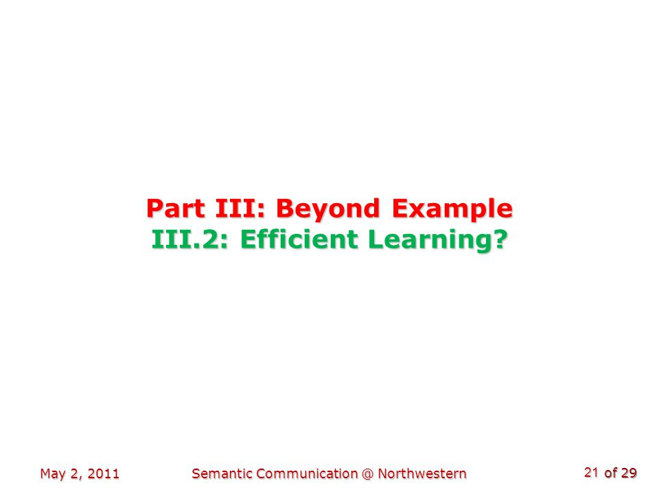 of 29 Part III: Beyond Example III.2: Efficient Learning.