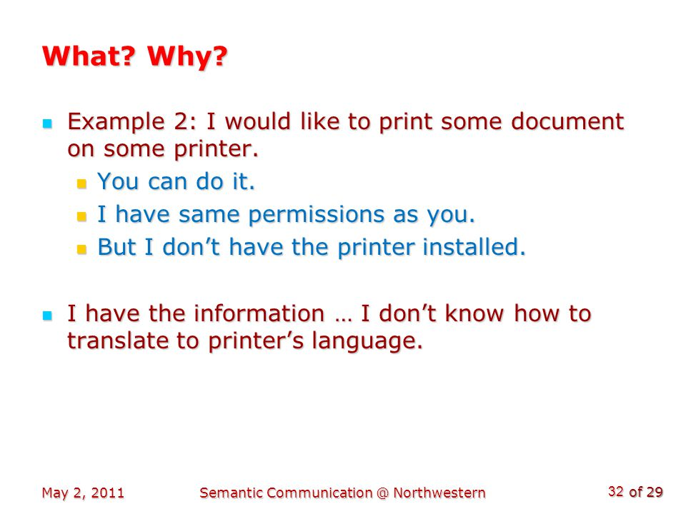 of 29 What. Why. Example 2: I would like to print some document on some printer.