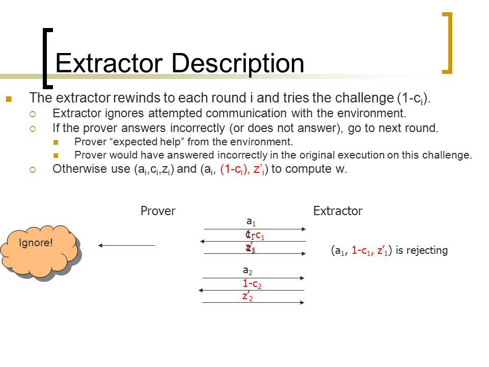 z1z1 z' 1 Extractor Description The extractor rewinds to each round i and tries the challenge (1-c i ).  Extractor ignores attempted communication wi