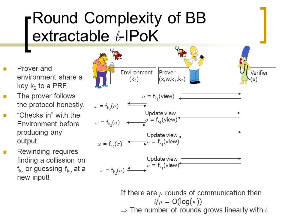 Round Complexity of BB extractable l -IPoK Prover (x,w,k 1,k 2 ) Verifier (x) Environment (k 2 ) Prover and environment share a key k 2 to a PRF. The