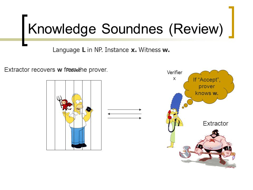 "Knowledge Soundnes (Review) Language L in NP. Instance x. Witness w. Prover Verifier x Extractor recovers w from the prover. Extractor If ""Accept"", pr"