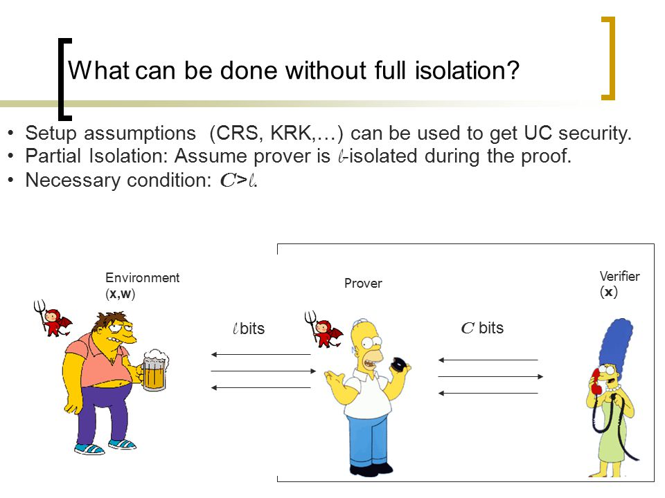 What can be done without full isolation? Verifier (x) Setup assumptions (CRS, KRK,…) can be used to get UC security. Partial Isolation: Assume prover