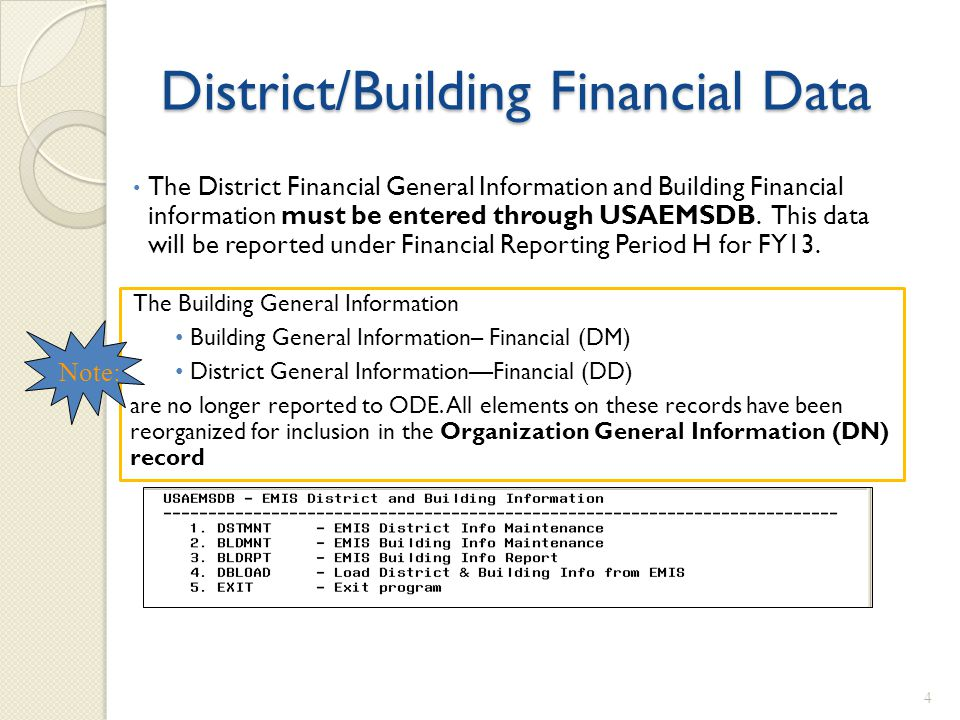 District/Building Financial Data The District Financial General Information and Building Financial information must be entered through USAEMSDB. This