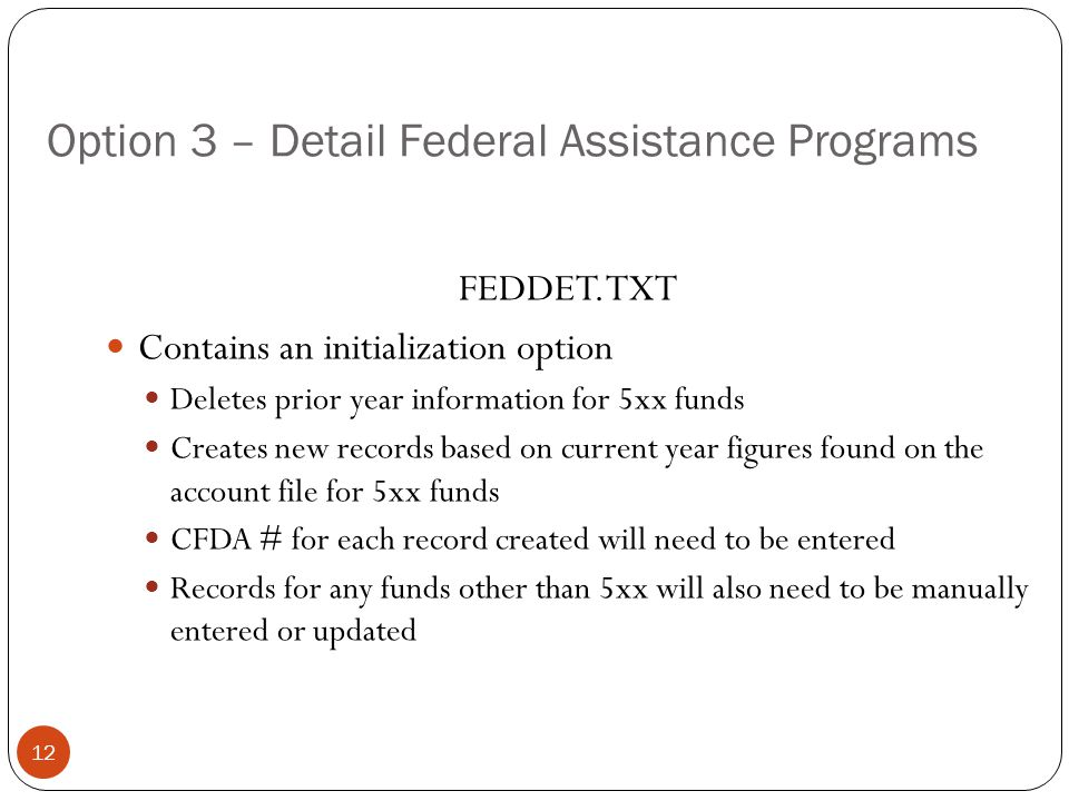 Option 3 – Detail Federal Assistance Programs 12 FEDDET.TXT Contains an initialization option Deletes prior year information for 5xx funds Creates new records based on current year figures found on the account file for 5xx funds CFDA # for each record created will need to be entered Records for any funds other than 5xx will also need to be manually entered or updated