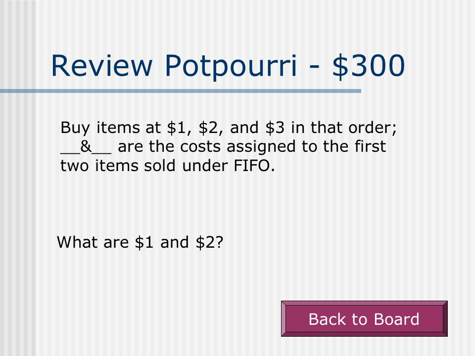 Review Potpourri - $200 Back to Board A term used to describe the acquisition cost of an asset less its accumulated amortization.