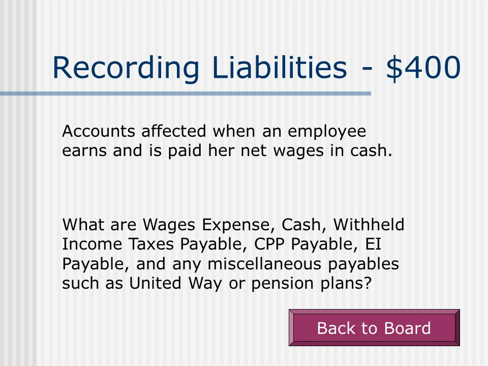 Recording Liabilities - $400 Accounts affected when an employee earns and is paid her net wages in cash.