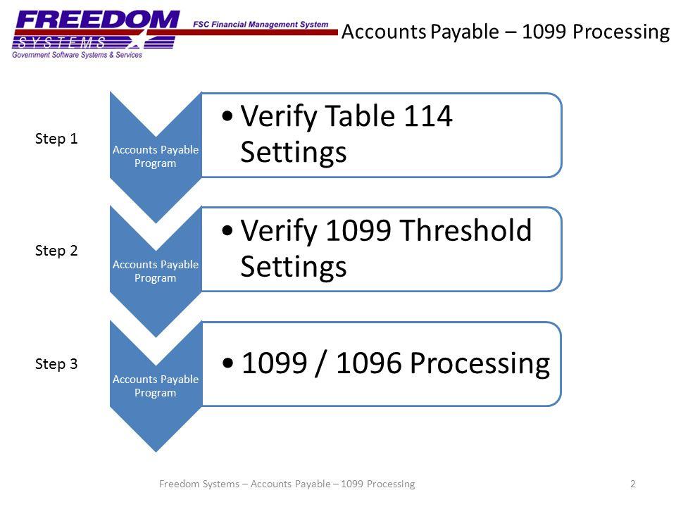 Accounts Payable – 1099 Processing Step 3 – 1099/1096 Processing 23Freedom Systems – Accounts Payable – 1099 Processing