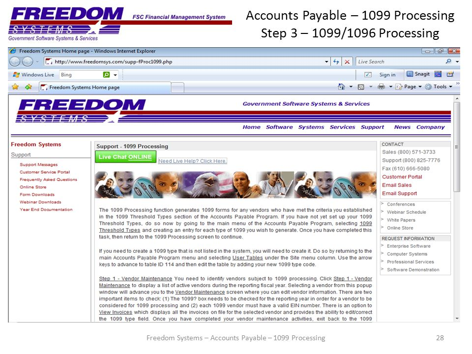 Accounts Payable – 1099 Processing Step 3 – 1099/1096 Processing 28Freedom Systems – Accounts Payable – 1099 Processing