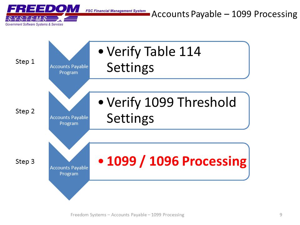 Accounts Payable – 1099 Processing Step 3 – 1099/1096 Processing 10 Select 1099 Processing from the main menu to advance to the 1099 processing window, Freedom Systems – Accounts Payable – 1099 Processing