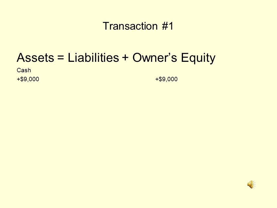 Transaction #1 Assets = Liabilities + Owner's Equity Cash+$9,000