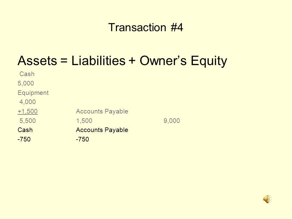 Transaction #4 Assets = Liabilities + Owner's Equity Cash 5,000 Equipment 4,000 +1,500Accounts Payable 5,5001,5009,000 CashAccounts Payable-750