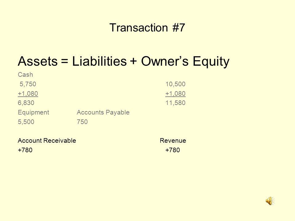 Transaction #7 Assets = Liabilities + Owner's Equity Cash 5,75010,500+1,080 6,83011,580 EquipmentAccounts Payable 5,500750 Account Receivable Revenue+780