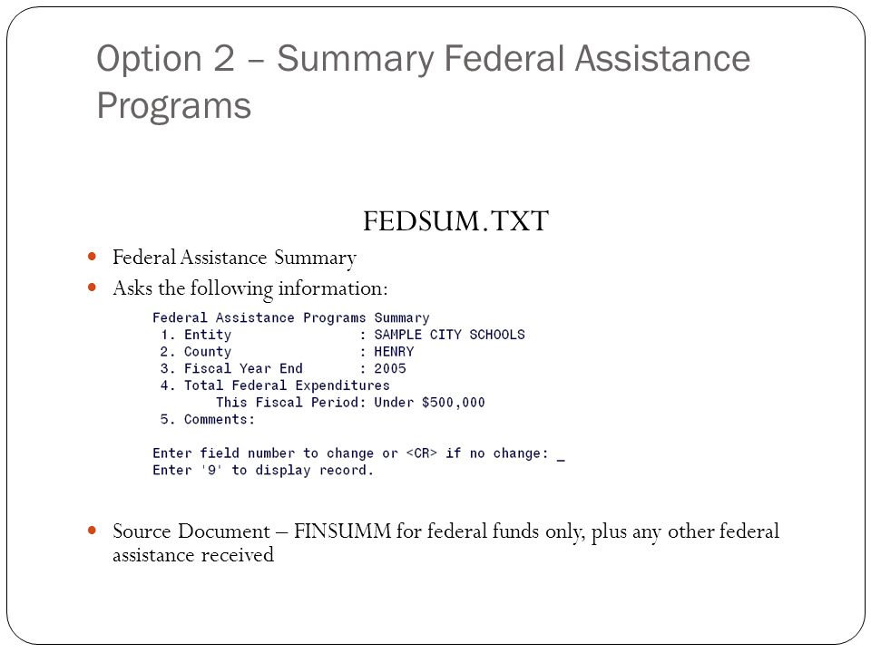 Option 2 – Summary Federal Assistance Programs 26 FEDSUM.TXT Federal Assistance Summary Asks the following information: Source Document – FINSUMM for