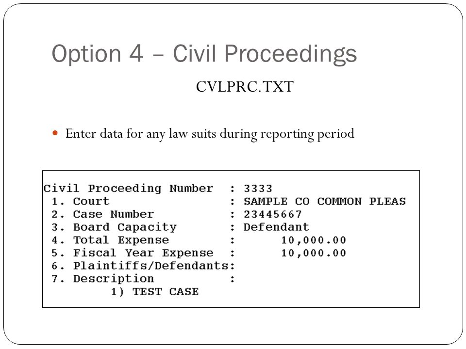 Option 4 – Civil Proceedings 29 CVLPRC.TXT Enter data for any law suits during reporting period