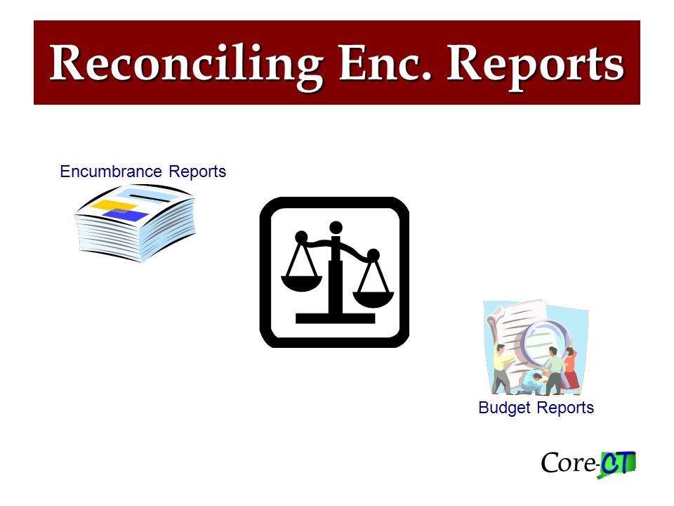 Reconciling Enc. Reports Encumbrance Reports Budget Reports