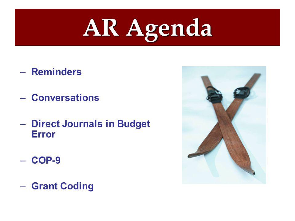 AR Agenda –Reminders –Conversations –Direct Journals in Budget Error –COP-9 –Grant Coding