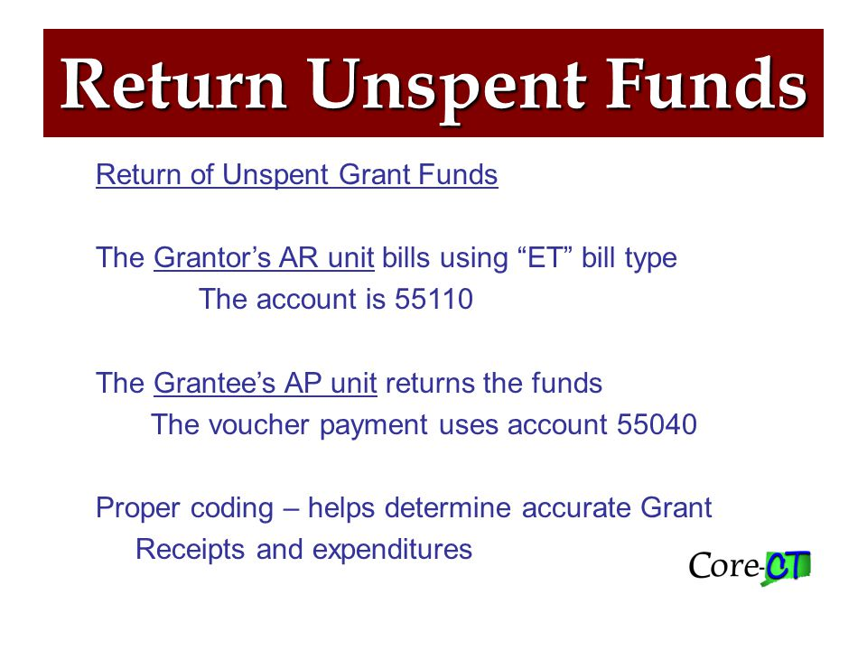 Return Unspent Funds Return of Unspent Grant Funds The Grantor's AR unit bills using ET bill type The account is 55110 The Grantee's AP unit returns the funds The voucher payment uses account 55040 Proper coding – helps determine accurate Grant Receipts and expenditures