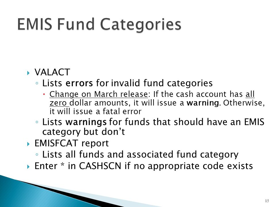  VALACT ◦ Lists errors for invalid fund categories  Change on March release: If the cash account has all zero dollar amounts, it will issue a warning.
