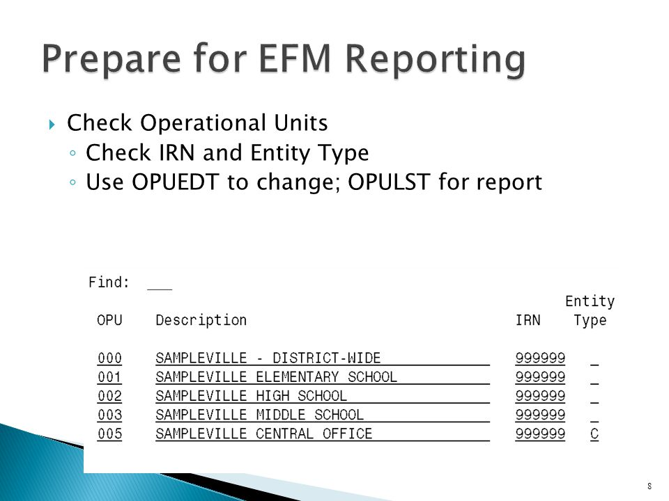  Check Operational Units ◦ Check IRN and Entity Type ◦ Use OPUEDT to change; OPULST for report 8