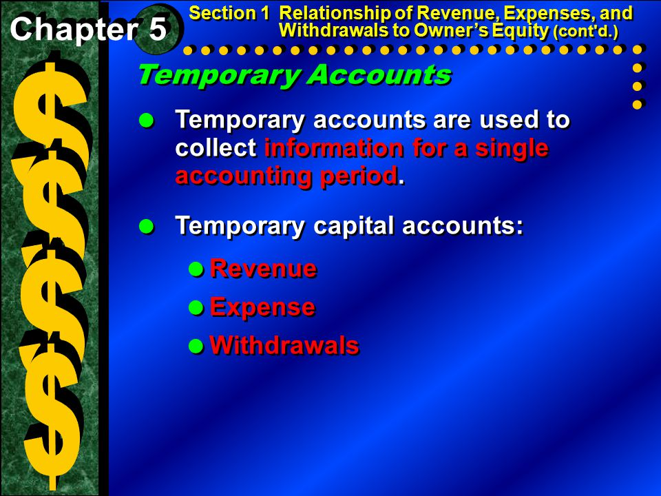 Temporary Accounts  Temporary accounts are used to collect information for a single accounting period.