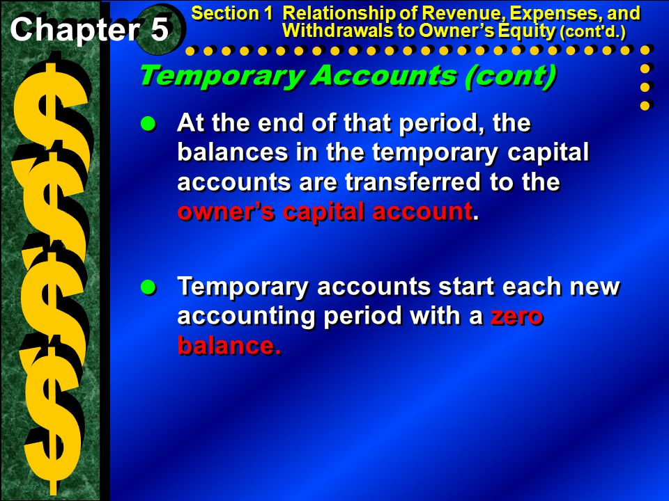 Temporary Accounts (cont)  At the end of that period, the balances in the temporary capital accounts are transferred to the owner's capital account.