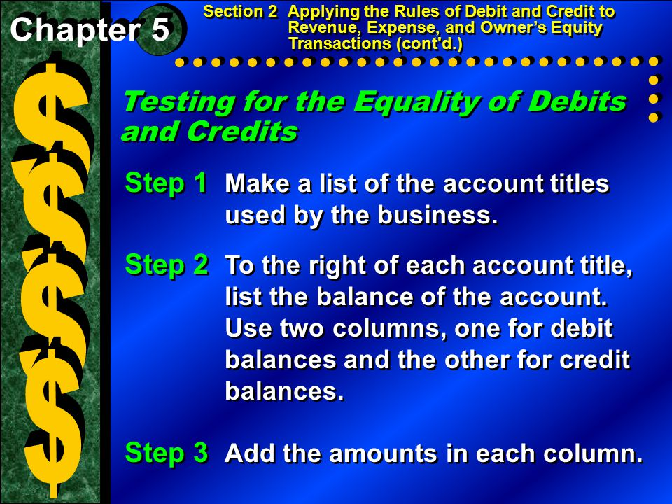Testing for the Equality of Debits and Credits Section 2Applying the Rules of Debit and Credit to Revenue, Expense, and Owner's Equity Transactions (c