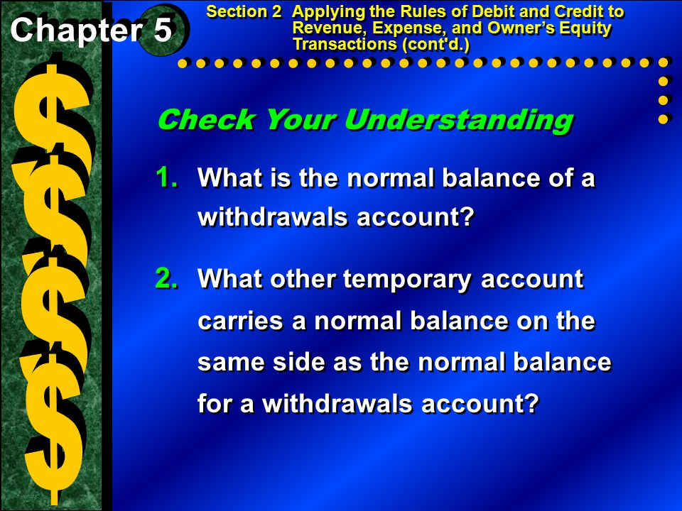 Check Your Understanding 1. What is the normal balance of a withdrawals account? 2. What other temporary account carries a normal balance on the same