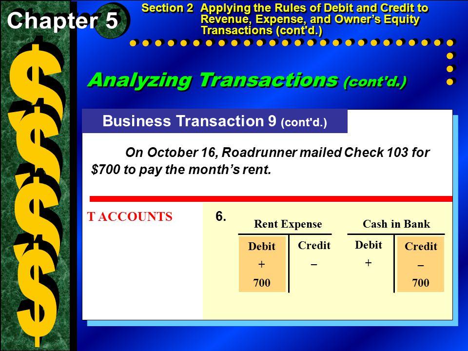 Analyzing Transactions (cont d.) Business Transaction 10 (cont d.) T ACCOUNTS 6.