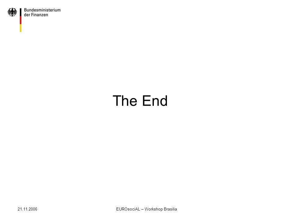 21.11.2006EUROsociAL – Workshop Brasilia The End