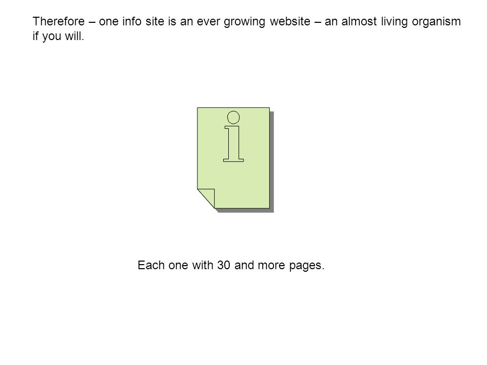 Therefore – one info site is an ever growing website – an almost living organism if you will.